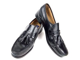 Bostonian Men Loafers Stockbridge Black Leather Tassel Apron Toe Slipon Shoe 10M - $44.37