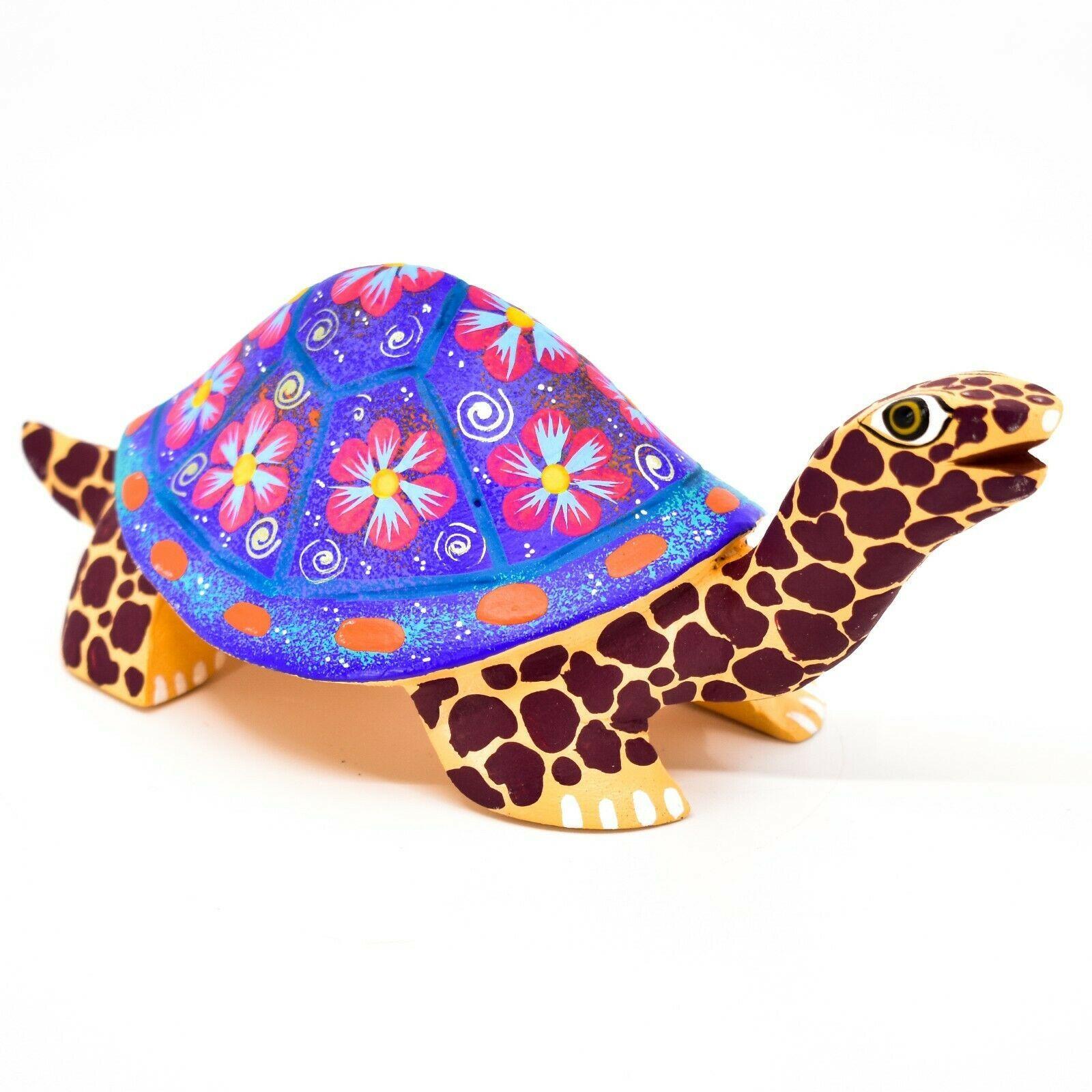 Handmade Alebrijes Oaxacan Wood Carving Painted Folk Art Turtle Tortoise Figure