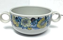 Rosenthal Studio Linie Terra Prato Blue Soup Bowl Yellow Floral Fruit MCM - $29.39