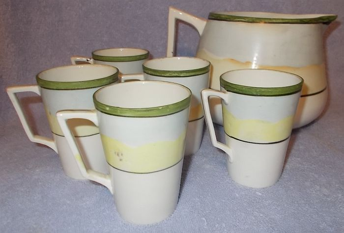 Antique Nippon Japan Te-Oh Hand Painted Pitcher and Five Cups Lemonade Set