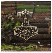 Thor's Hammer Mjolnir Pendant Necklace Norse Nordic Odin's Fox Zinc Allo... - $10.99