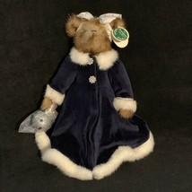 Bearington Collection Sandra Bear Plush Stuffed Animal Blue Dress Silver... - $21.77