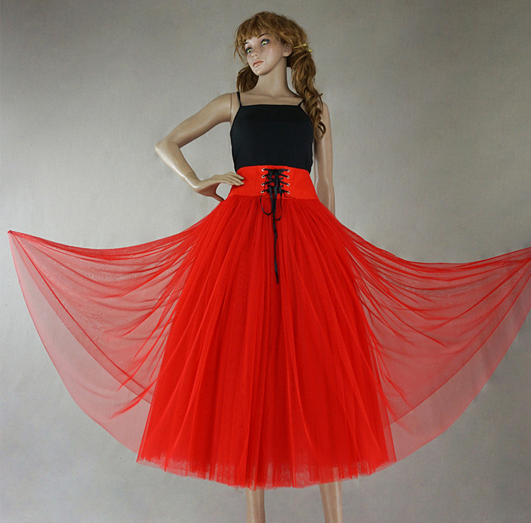 Red 8 layer tulle skirt 3