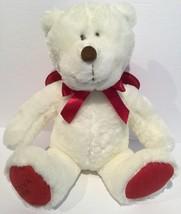 GUND COLLECTIBLE 2008 White GODIVA Stuffed Plush Teddy Bear Red Bow Feet... - $18.51