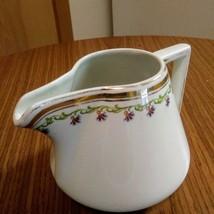 Myott.Son & Co England Porcelain White Gold Trim Green Scrolls Creamer    image 2