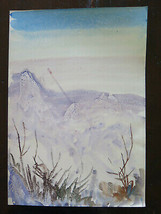Landscape Alpine IN Winter Painting Watercolour Ice Technical Experiment... - $63.43
