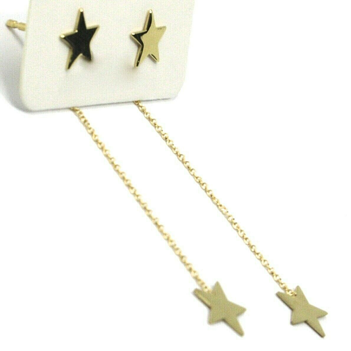 18K YELLOW GOLD PENDANT EARRINGS FLAT DOUBLE STAR, SHINY, SMOOTH, ROLO CHAIN