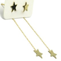 18K YELLOW GOLD PENDANT EARRINGS FLAT DOUBLE STAR, SHINY, SMOOTH, ROLO CHAIN image 1