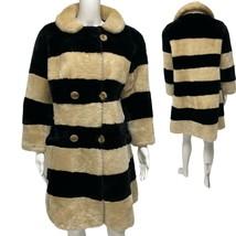 Vintage La Paulls faux Kalamazoo Battle Creek women's long coat striped ... - $69.19