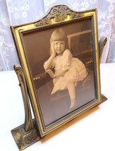 Antique Glass Wood Frame Picture Photo Little Girl White Dress 1910 - 1920 - €108,75 EUR