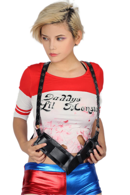 Batman Suicide Squad Harley Quinn Cosplay Costume Straps Belt Gun Holster Sheath