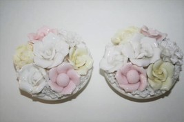 Ardalt Lenwile Japan Verithin Pink Yellow White Floral Candle Holder Set... - $44.00