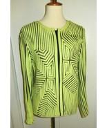 Andrea Rosati Women's 10 Neon Green Ribbon Art Mesh Zip Front Jacket Blouse - $21.99