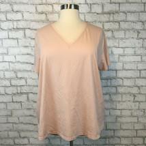 Ava & Viv Women's Light Pink V-Neck Satin Gathered Back Dressy Shirt Siz... - $14.39