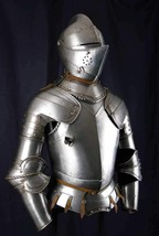 Medieval Plate Armor Knight Suit Battle Ready Steel Armour Suit Full siz... - $601.77