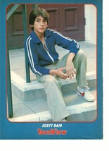 Scott Baio teen magazine pinup clipping sitting on a cement step open shirt Bop