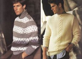 Vtg Vogue Mens Knits 25 Designs Tennis Sailing Ski Cricket Sweaters Patterns image 5