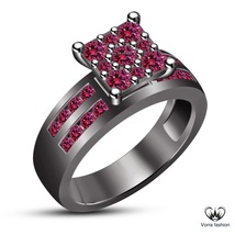 Round Cut Pink Sapphire 10k Black Gold Plated 925 Silver Engagement Wedd... - $88.99