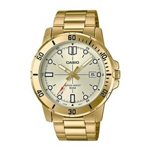 Casio Men's MTP-VD01G-9E Stainless Steel Gold Dial Casual Watch Date WR - $65.73 CAD