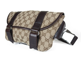 Gucci GG Web Canvas Leather Browns Waist Belt Bum Bag GW2308 - $366.16