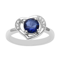 Blue Cubic Zirconia 925 Sterling Silver Women Wedding Ring Heart Shape V... - $12.24