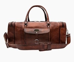"23"" Leather Duffel Bag Vintage Leather Travel Carry On Luggage Handbag - $91.03"
