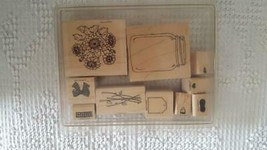 10 STAMPIN'UP WOODEN RUBBER MOUNTED INK STAMP SET JAR OF FUN,1994,1-2.75... - $7.39
