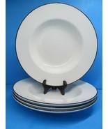 "Crate And Barrel Clasique Black Line White 9 3/4"" Soup Bowls Set Of 4 Bo... - $48.02"