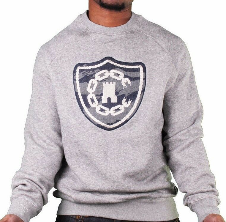 Crooks & Castles Tiger Camo Denim Men's Knit Crew Neck Sweatshirt Grey L NWT