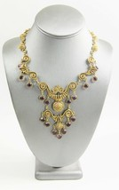 ESTATE Jewelry VINTAGE GOLDETTE ETRUSCAN BEZEL CRYSTAL STATEMENT NECKLACE  - $150.00