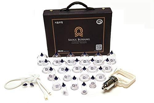 SeoulMedical Cupping Therapy Equipment 20 Cups Set with Pumping Handle Connectio