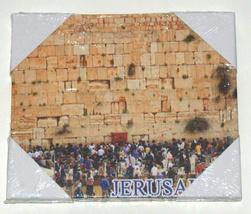 "Judaica Canvas Picture Wall Hang Israel Jerusalem Hamsa Blessing 7"" X 6"" image 1"