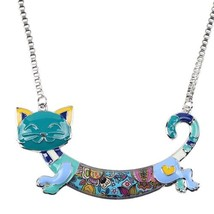 Bonsny Alloy Enamel Cat Kitten Necklace Pendant Chain Collar Choker Nove... - $12.71