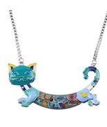 Bonsny Alloy Enamel Cat Kitten Necklace Pendant Chain Collar Choker Nove... - $12.71