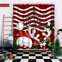 Wasserrhythm Merry Christmas Shower Curtain Red Reindeer Santa Claus Cus... - $44.29