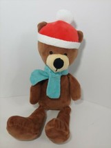 Animal Adventure Brown Teddy Bear Green scarf 2017 Plush Santa hat - $19.79