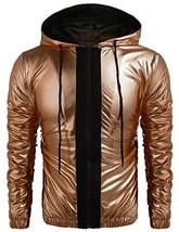 COOFANDY Mens Metallic Nightclub Style Hooded Varsity Baseball Bomber Ja... - $34.19
