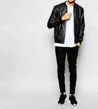 Men Slimfit Black Lambskin Biker Leather Jacket Coat For Men - $150.00