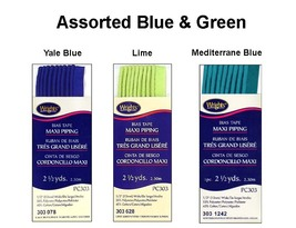 Wrights Maxi Piping Bias Tape PC303 - 2 1/2 yds each -  3 Assorted Blue & Green - $5.55
