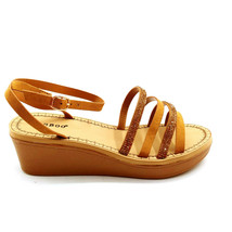 Bamboo Womans Makeup 13 Strappy Wedge Heel Sandal Tan  Sz 7.5 M NEW - $21.45