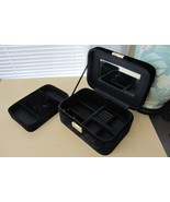 Estee Lauder Black Velvet Mirrored Cosmetic Organizer Jewelry Box w/ Key - $40.58