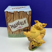Pigsville by Ganz pig figurine nib box 1995 vintage sculpture resin Yard work - $29.65