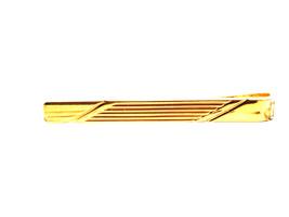 diamond cut gold  design  tie clip / tie slide in gold image 1