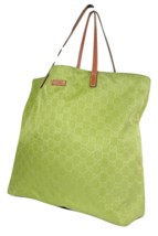 Auth GUCCI GG Pattern Nylon Canvas Leather Yellow Green Tote Bag GS1875 - $289.00