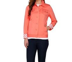 Isaac Mizrahi Live! Knit Denim Jacket w/ Gingham Cuffs  WATERMELON Coral... - $39.18
