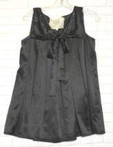 For Love and Liberty Small Black Silk Square Neck Pleated Sleeveless Top - $23.20