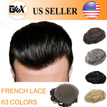 GEX Toupee Mens Hairpiece Wig FRENCH LACE Remy Hair Replacement Basement System - $159.90