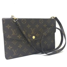 AUTHENTIC LOUIS VUITTON Monogram Double - Mule Shoulder Bag Brown Canvas... - £427.82 GBP