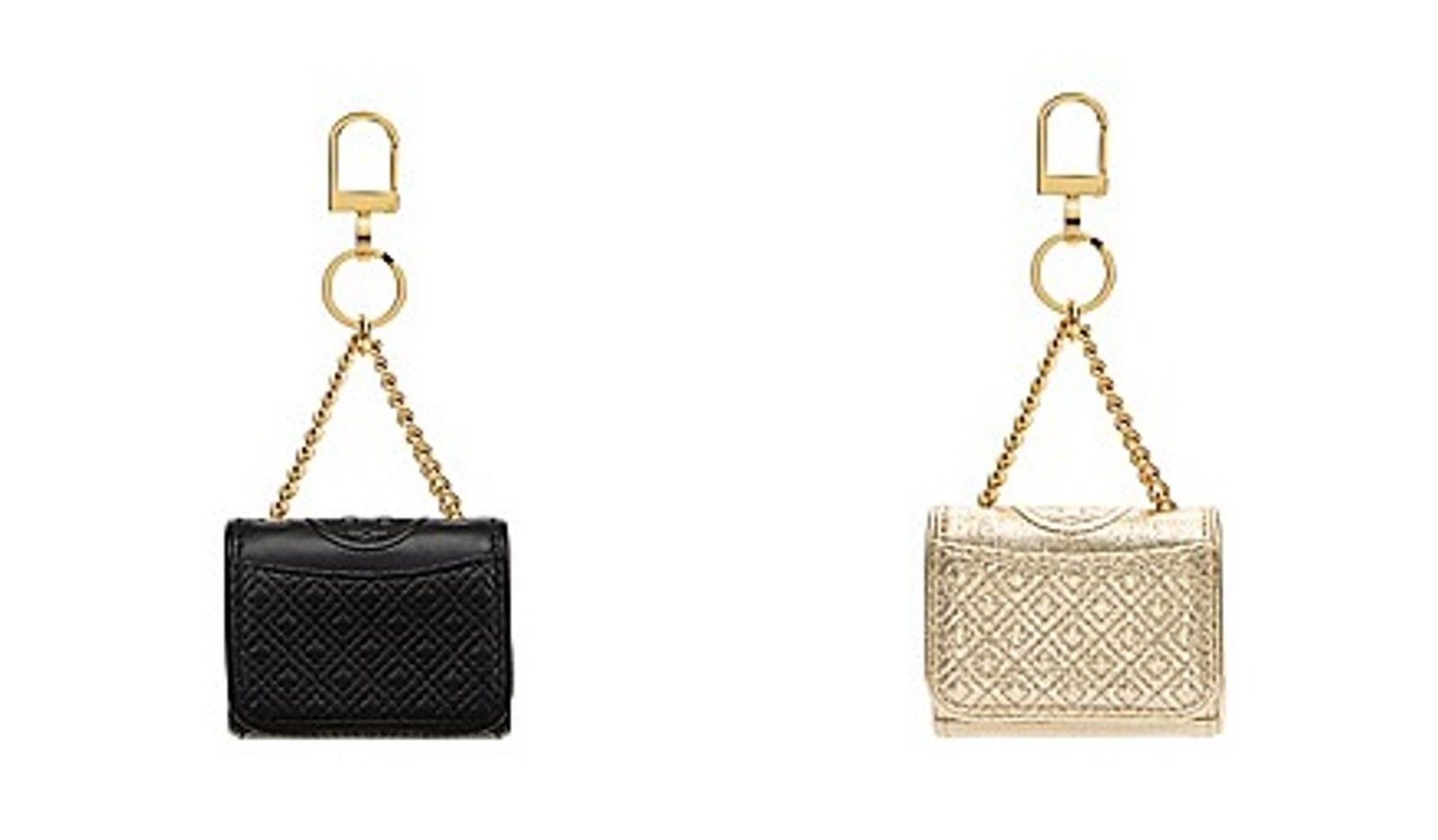 Tory Burch Leather Fleming Metallic Mini Key Fob / Bag Charm in Spark Gold/Black