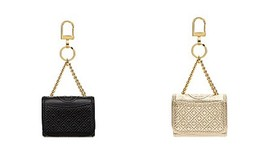 Tory Burch Leather Fleming Metallic Mini Key Fob / Bag Charm in Spark Gold/Black image 1